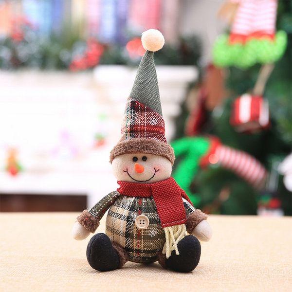Hoomall 1PC Cute Cartoon Dolls Christmas Pendants Snowflake Plaid Christmas Tree Decor Home Evening Decorations Supplies