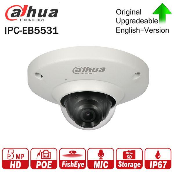 Dahua IPC-EB5531 5MP Panoramic Network 1.4mm Fisheye Camera H.265/H.264 3DNR AWB AGC BLC IP67 PoE Detection Built-in Mic