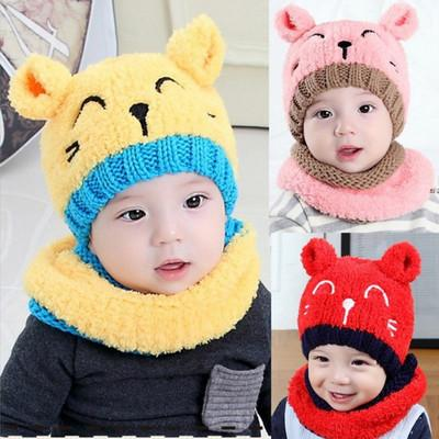 new knitting chochet wool hats boys and girls plus thick warm winter suits cashmere earmuffs Korean version cap