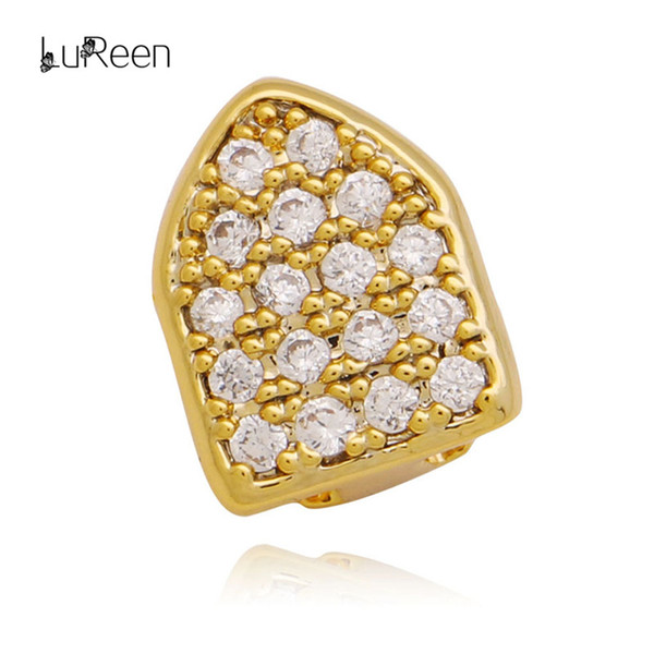 LuReen Gold Silver Shiny Pave Full CZ Single Tooth Cap Dental Top Grillz Hip Hop Teeth Grillz Cosplay Party