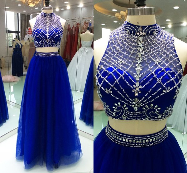 Fabulous Prom Dresses Royal Blue Two Pieces High Neck Crystals Beaded Tulle Hollow Back Cheap Long Evening Formal Gowns