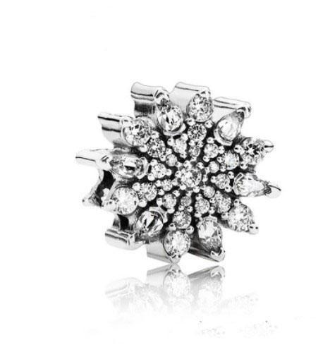 Fit Pandora Charm Bracelet European Silver Bead Charms Crystal granos únicos del girasol DIY cadena de la serpiente para las mujeres joyería del collar del brazalete