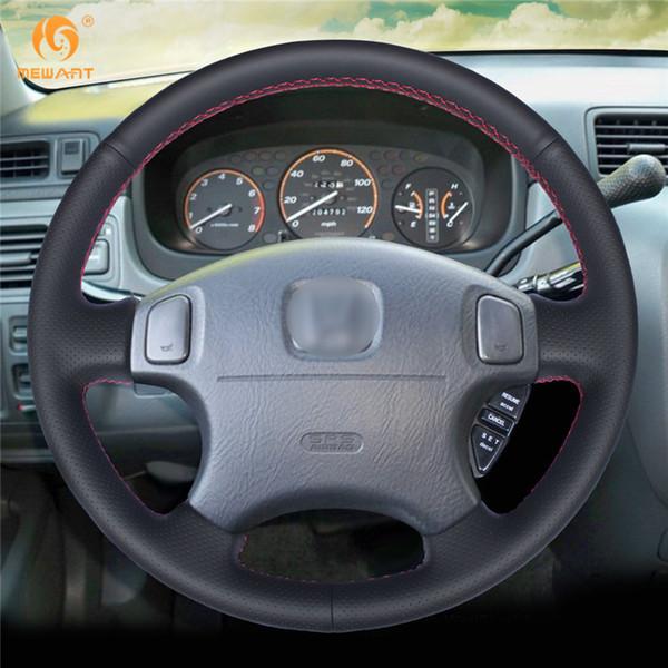 MEWANT Black Leather Steering Wheel Cover for Honda CRV CR-V Prelude 1997-2001 Accord 6 1998-2002 Odyssey 1998-2001 Civic 1996-2000
