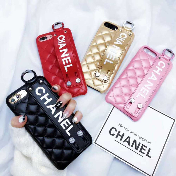 Luxury Phone Case for IPhone X Fashion Paris Show Classic Rhombus Lattice Wristband Leather Phone Back Cover for IPhone 6 6plus 7/8 7/8plus