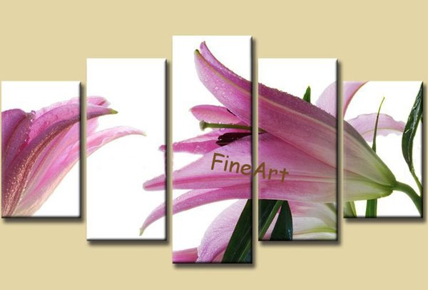 hand-painted oil wall 5 panel lily flower painting white back ground modern oil painting wall painting office decoration unique gift