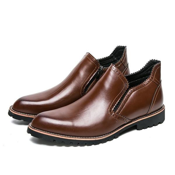 Yeni Sonbahar Kış Steampunk Erkekler Ayak Bileği Çizmeler Vintage Stil Rahat Ayakkabılar Yüksek Kesim Sıcak Motosiklet Çizmeler Retro Fermuar Bordo