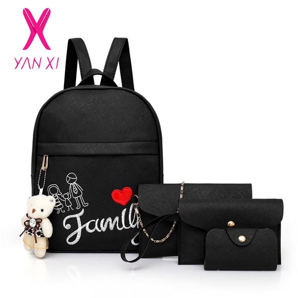 New Women Backpack Schoolbag for Teenager Girls High Quality Backpack Female Shoulder Crossbody Bag Purse for 4Pcs/Set GG