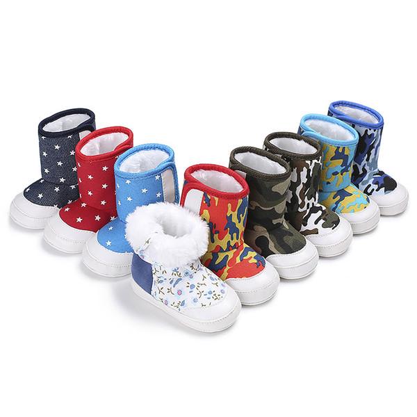 Nueva impresión de la estrella de nieve botas para bebé cuna niño niña de invierno súper mantener caliente bebé niño recién nacido prewalkers bebé niños botas