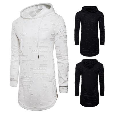 New Fashion Spring Autumn Men Longlines Hooded T-shirt Holes Design Casual T Shirt Hip Hop Streetwear