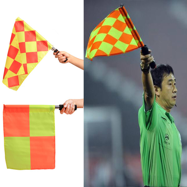 top popular 2pcs pack Stainless Steel Soccer Training Assistant Referee Flag Football Judge Sports Match waterproof Anti-skid Plaid Flags for Linesman 2021