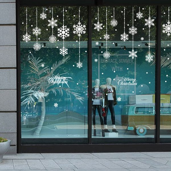 Happy New Year Christmas Decorations for Home Snowflake Glass Sticker Merry Christmas Decor Shop Window Sticker Navidad Natal Y18102609