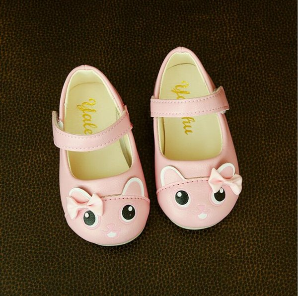 Size 21-25 New Children's shoes Autumn New Girl Single shoes Cartoon Bow Sweet Princess Leather Baby Small Child
