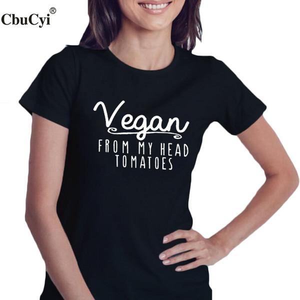 T-shirt végétalien pour femmes Tee-shirt végétarien Harajuku Tee Les femmes de ma tête Tomates Droits des animaux Sauvetage Veggies Amis Pas des lettres de nourriture T-shirt