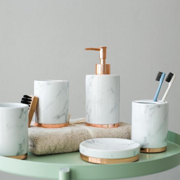5 pcs acessórios de moda em mármore banheiro conjunto Doméstico lavagem escova copo, Dispensadores de Sabão Líquido, Saboneteiras