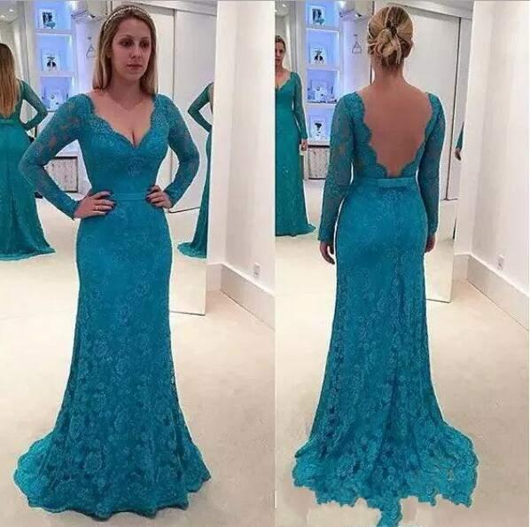 Elegant A-Line 2018 Mother Of The Bride Dresses Sashes Backless V-Neck Long Sleeve Lace With Applique Charming Mother Dress Evening Dress