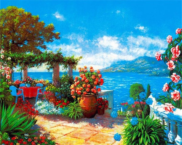 16x20 inches Seaside Garden And Hillside In The Distance DIY Paint On Canvas drawing By Numbers Kits Art Acrylic Oil Painting Frame
