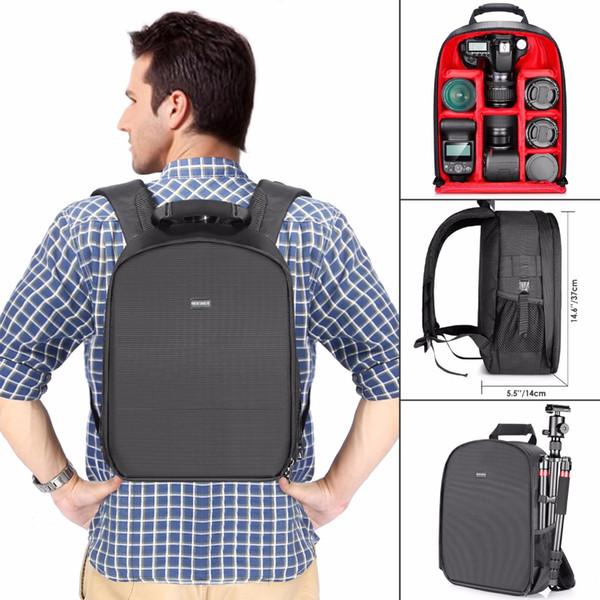 vente en gros étui étanche à l'eau antichoc 31 x 14 x 37 cm sac à dos sac avec support de trépied pour caméra flash accessoires noir / rouge gris