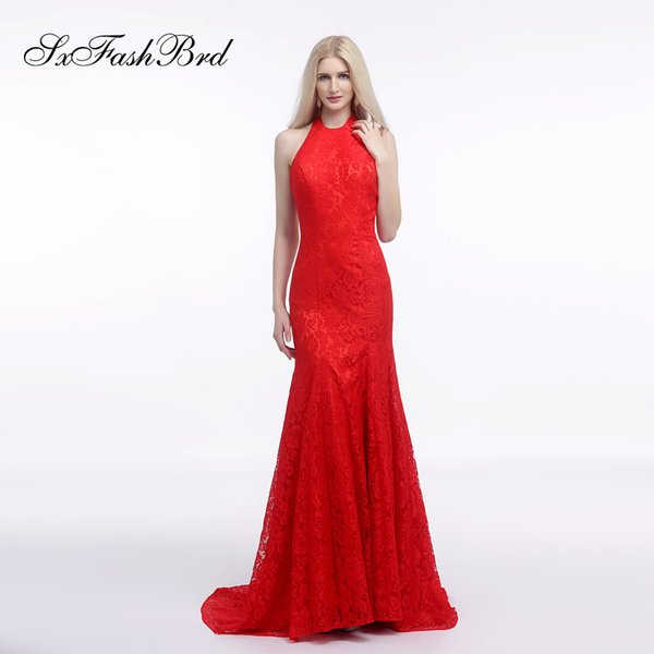 Elegant Dress Halter Open Back Mermaid Lace Long Party Formal Evening Dresses Women Prom Dress Gowns