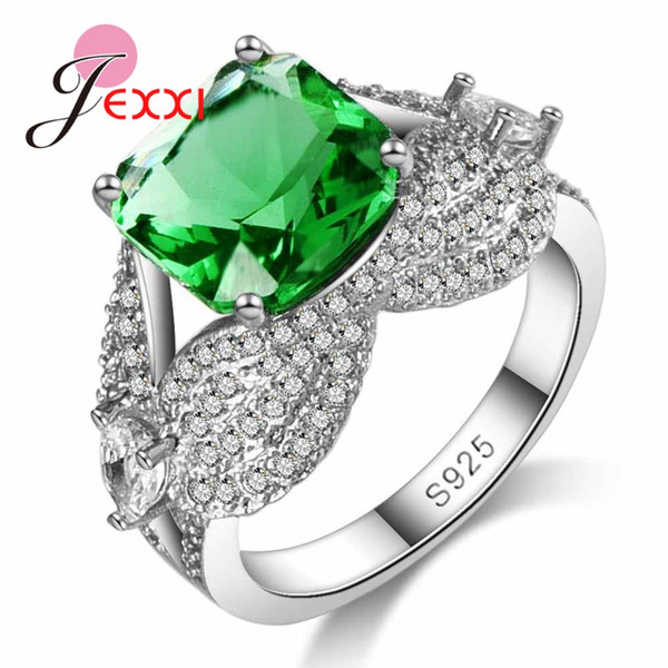 whole saleJEXXI 925 Sterling Silver Ring for Women Hign Quality Green Crystal Ring Wedding # Anniversary Gift 2017 New Listed