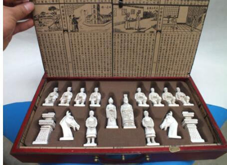 Elaborate Chinese Classical wood Leather Box with Ancient Figures Statue Chess Set