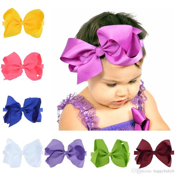 30 colors 6 inch Big Bow Baby Headbands Grosgrain Ribbon Headbands Girls Kids Elastic Bowknot Hairbands Children Hair Accessories