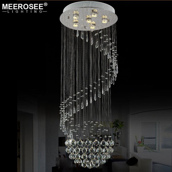 Decorative Crystal Ceiling Lamp Spiral Crystal Light fixture lustres de sala for Stair villa Staircase Lamp Lighting MD20018