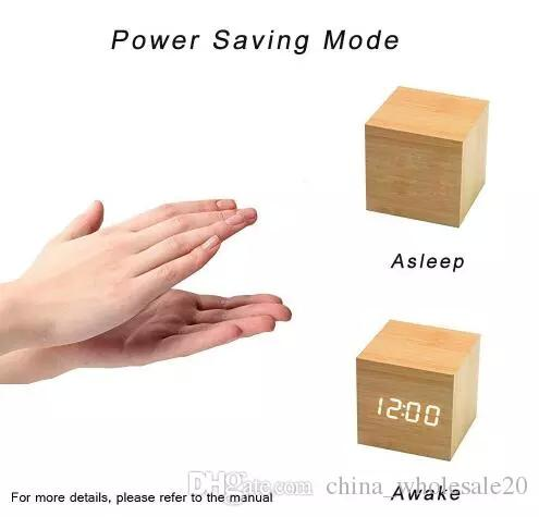 Free shipping Mini Cube Wooden Clock Voice Control Electronic Desk Clock with LED Digital Table Watch Snooze Cute Alarm Clock for kid AJI689
