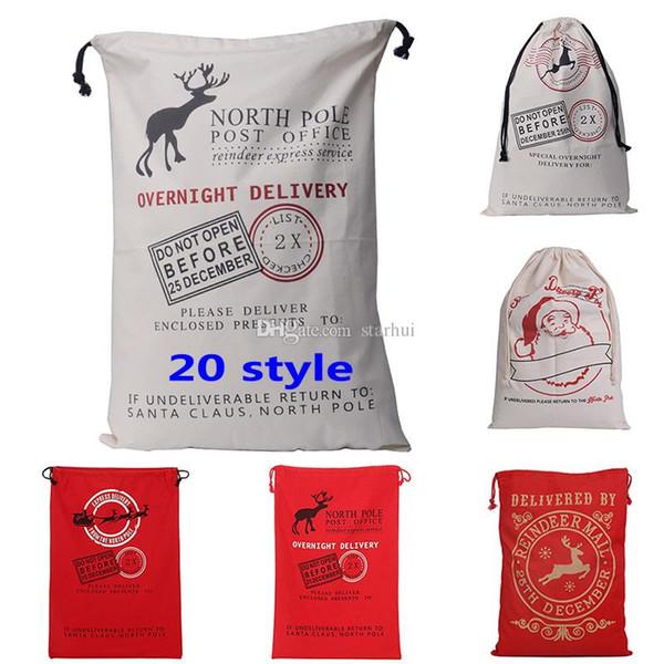 Bolsas de regalos de Halloween de Navidad con cordón Lienzo Saco de Santa Reno ambiental Bolsas de regalos Bolsos Elk Bolsos de lona 50 * 70 cm WX-B09