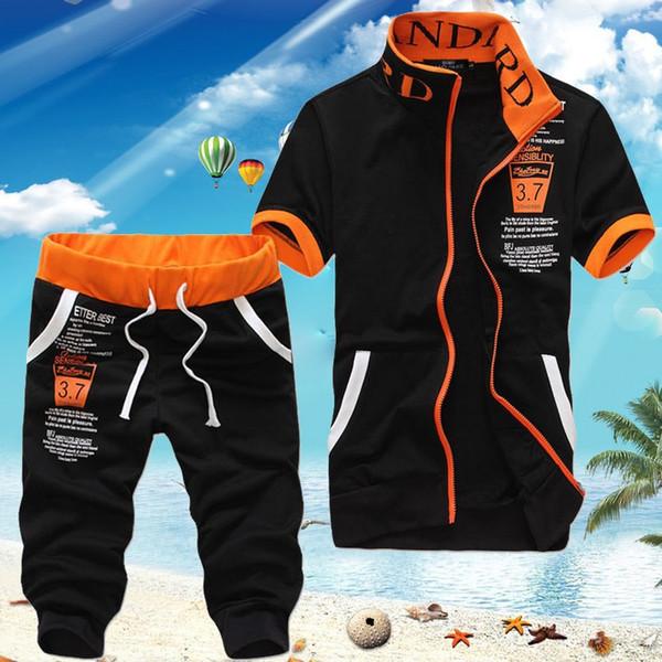 Mens Casual Tracksuits Suit Set Fashion Summer Plus Size Short Sleeve Polo T Shirt + Pant Men Sportswear Clothing Asian Size M-XXXL