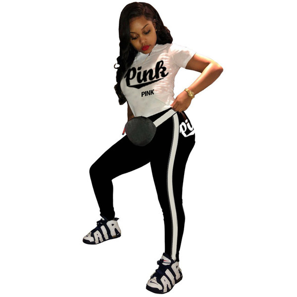 Women Pink Letter outfits summer Sports suit 2pcs set short sleeve T-shirt Tight pants Jogging Casual Sportswear Yoga Cothing Suits