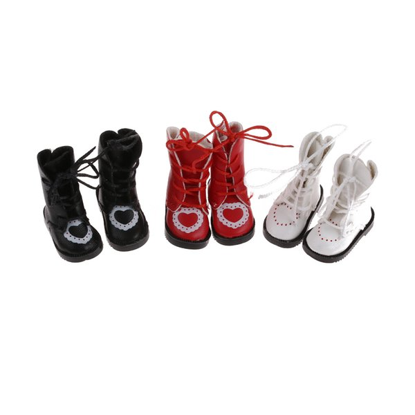 1 Pair 3.3 cm PU Leather Doll Boots For BJD Dolls Shoes Handmade Doll Mini Boot Lovely Girl Toy Fashion Accessories