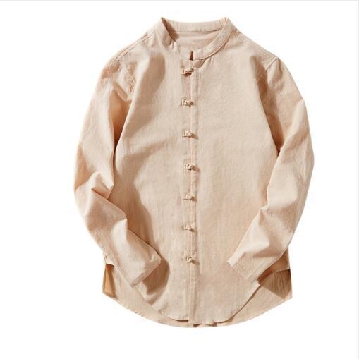 Camicia da uomo estiva in lino cotone moda a maniche lunghe solido collo colletto nuovo elegante camicia da uomo business casual camicetta casual