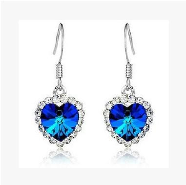Fashion 925 Sterling Siver Earring Jewelry Sapphire Blue Gem Earring for Women Heart of the Ocean Titanic Eternal Love Drop Earrings