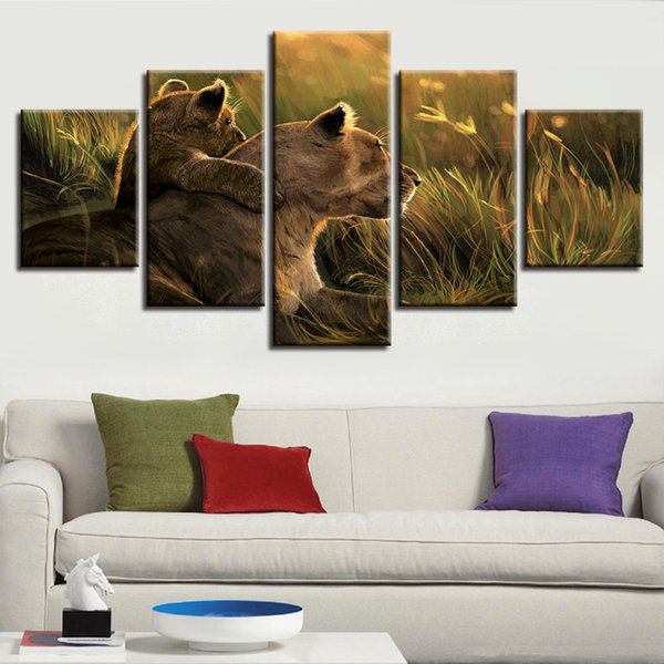Framework Prints Artworks 5 Pieces Animal Lion Family Natural Scenery Painting Decor Living Room Wall Art Modular Canvas Picture