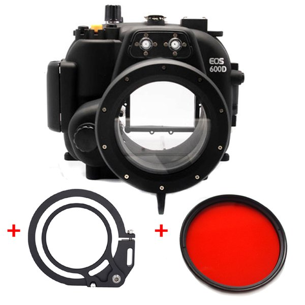 40M 130ft Underwater Waterproof Housing Diving Camera Case for Canon 600D 18-55mm lens 67mm Red filter + Wet-lens Adapter Mount