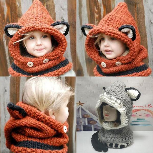 New Design Baby Hat Cap Cat Ear Fox Winter Beanie Hat Children Windproof Hat Scarf Boy Girl Handmade Knitted Cap Skullies Thick Soft Beanies
