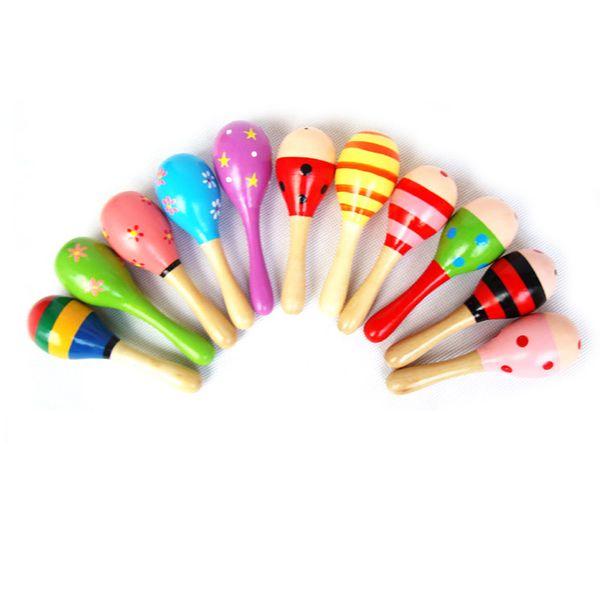 Mini Bunte Kinder Spielzeug Holz Maracas Ball Rassel Spielzeug Sand Hammer Geschenk Kinder Baby Frühes Lernen Musikinstrumente Spielzeug