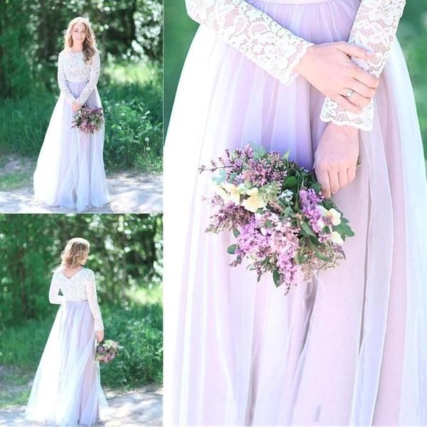 Land-Strand-Flieder-Spitze eine Linie Tüll-Fußboden-Längen-Hochzeits-Kleider 2018 Arabisch lange Hülsen-Brautkleid-Empfangs-Kleid plus Größe