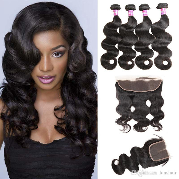 8A Brazilian Hair Bundles with Closure Double Weft Human Hair Extensions With Lace Frontal Hair Weaves Closure Body Wave Wavy Dropship