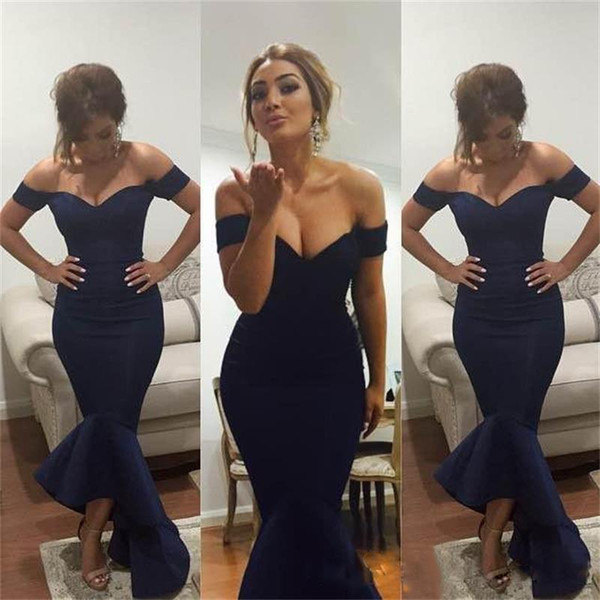 2018 New Design Off-The-Shoulder Cocktail Party Wear Dresses Mermaid Sexy Sleeveless Navy Blue Evening Prom Dress