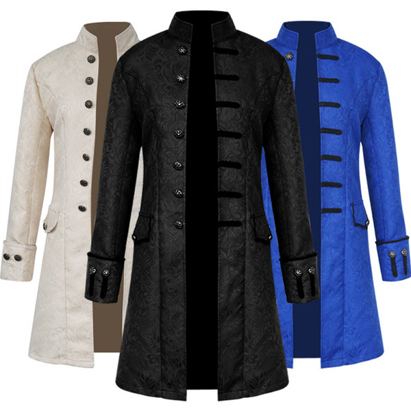 Fashion steampunk retro men's ball gown unicorn collar Jacket trench coat Game anime role playing costume manteau homme Jacquard men coat