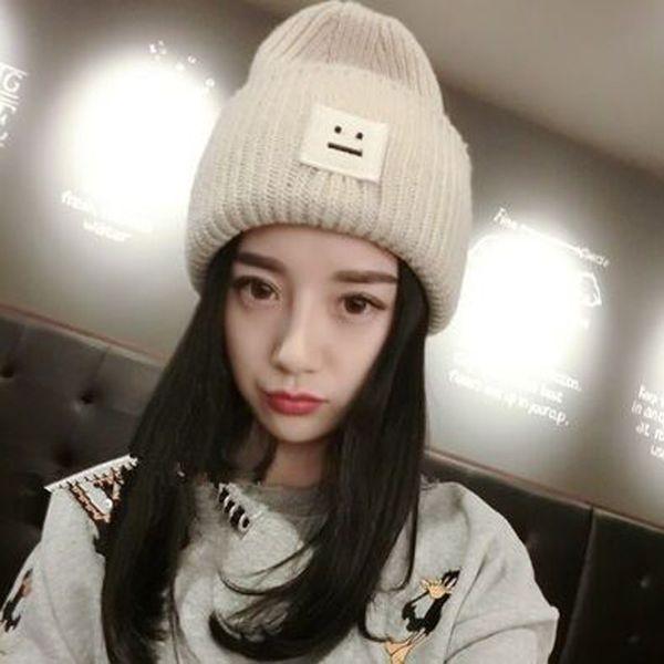 1 Stücke Korean Platz Lächelndes Gesicht Gestrickte Kappen Herbst Winter Marke Skullies Beanies Liebhaber Hüte Für Frauen Und Männer 4 Farben