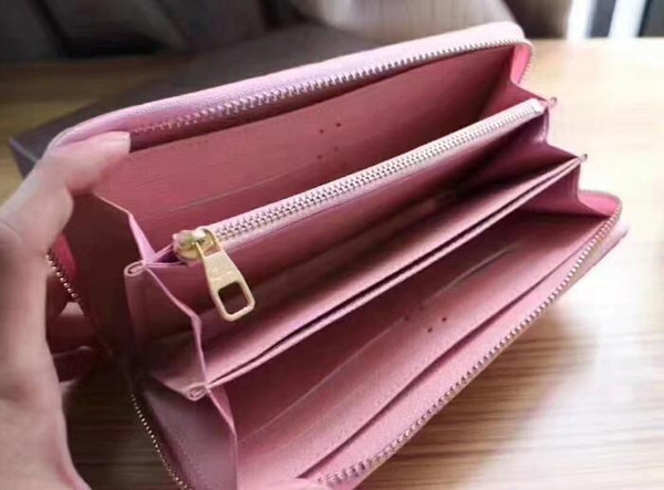 Women genuine leather famous brand designer zippy wallets embossed business credit card holder ladies clutch purses and handbags top quality