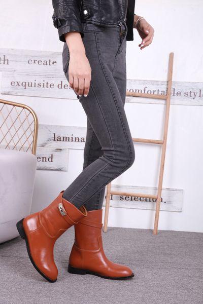 2018 Women Ankle Boots Lace Up Vintage Genuine Leather Shoes Female Plus Size Platform Flat Winter Boot Warm Woman Footwear