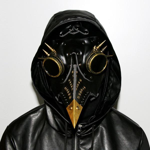 Steampunk Gothique Rétro Peste Bec Peste Docteur Oiseau Masque Halloween Costume De Noël Accessoires Véritable PU Livraison Gratuite G218S