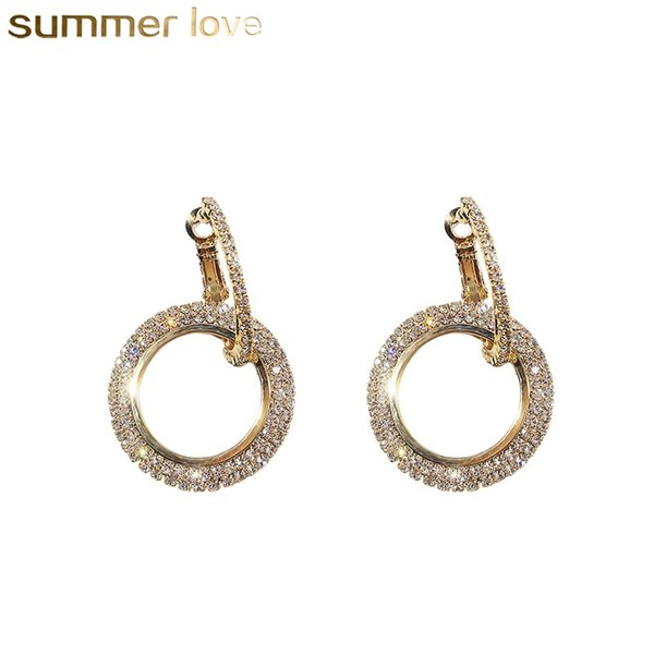 Fashion Rhinestone Round Geometric Drop Earrings For Women Jewelry Silver Gold Rose Color Handmade Statement Elegant Earrings