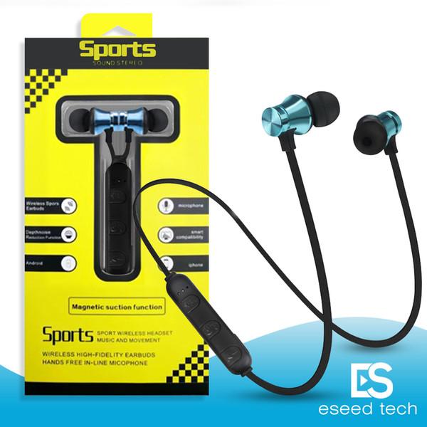 XT11 Auriculares inalámbricos Bluetooth Deportes In-Ear BT 4.2 Auriculares auriculares estéreo magnéticos con MIc para el iphone X 8 Samsung con paquete