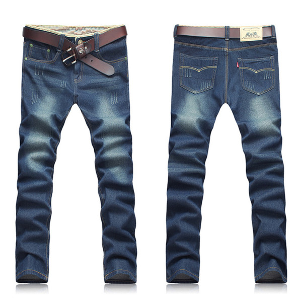 Men Four Seasons Fashion Blue Zipper Middle Waist Micro-bomb Straight Casual Washed Long Jeans US Size 40 US Size 42 (Price only for jeans)