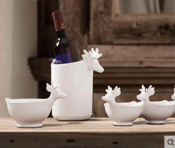 Acheter Blanc Ceramique Cerfs Seau A Glace Bol Decor A La Maison Artisanat Table Decoration Artisanat Figurines En Porcelaine De Mariage Decorations
