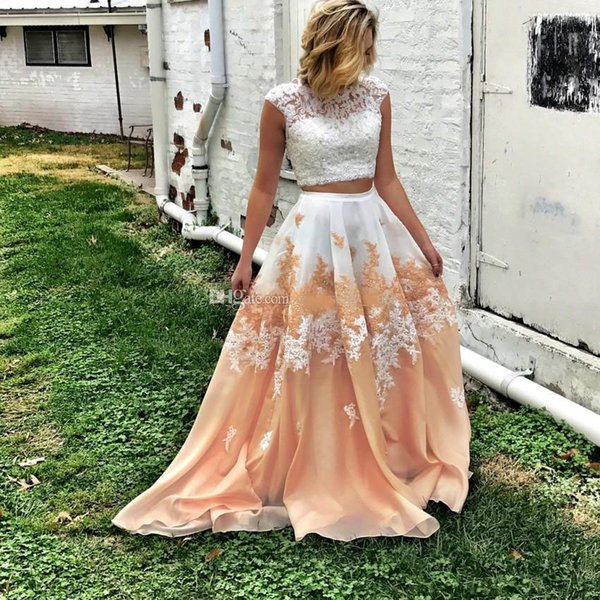 Two Pieces Prom Dresses Lace Top Cap Sleeves Organza Open Back Plus Size Long Prom Dresses Homecoming Dress Graduation Dress